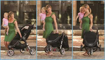 Patented Quick Fold of baby Jogger City Mini GT